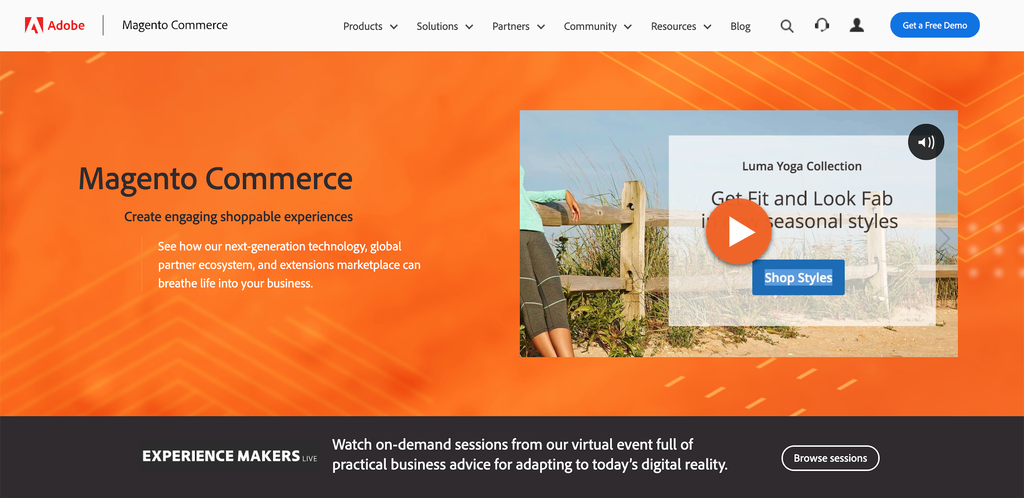 Screenshot from the Magento website showing its front page.