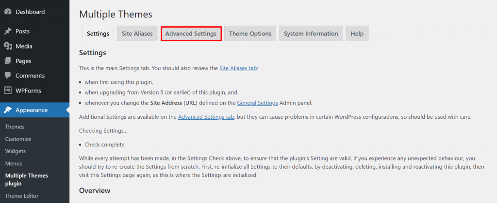 A screenshot showing Multiple Themes plugin's advanced settings.