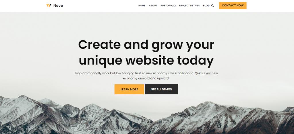 Screenshot illustrating how Neve which is a free WordPress theme looks like