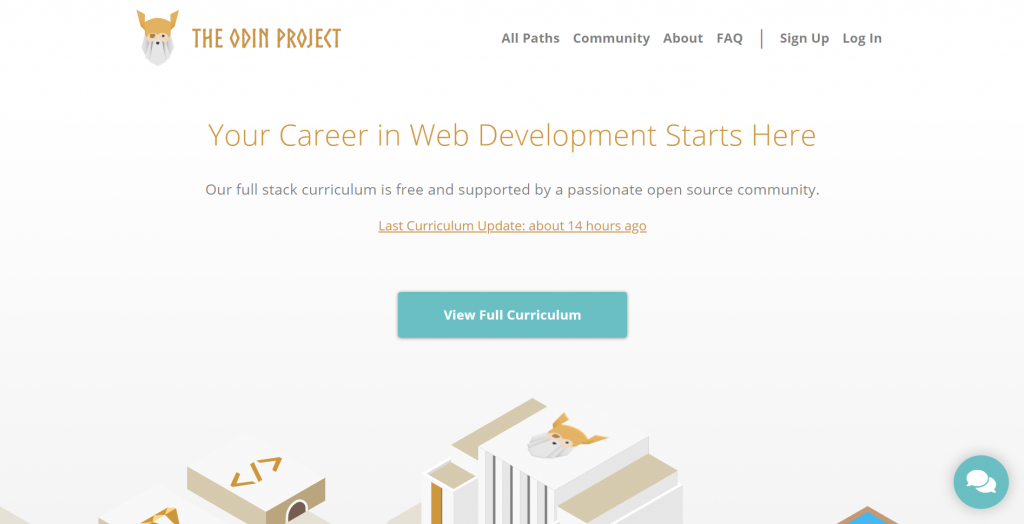 The Odin Project homepage.