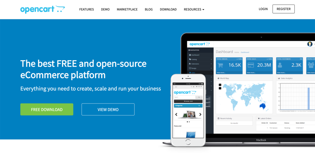 Screenshot from the OpenCart website showing its front page.