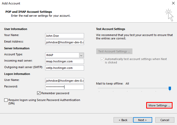 A screenshot showing POP and IMAP account settings information and where to find More Settings button.