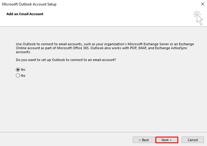 A screenshot showing where to tick Yes to add an email account.