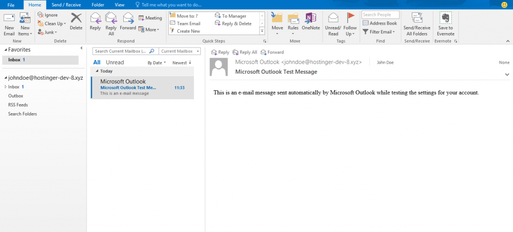 A screenshot showing Outlook 2016 interface.