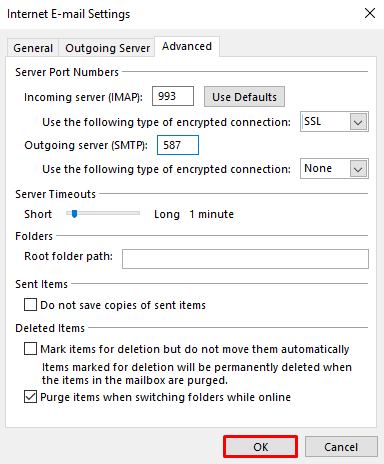 A screenshot showing internet email settings and where to find the OK button.
