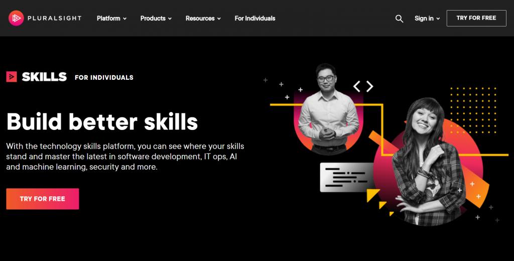 Pluralsight homepage.