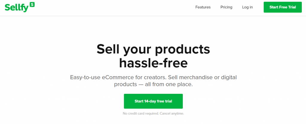 Screenshot from the Sellfy website showing its front page.