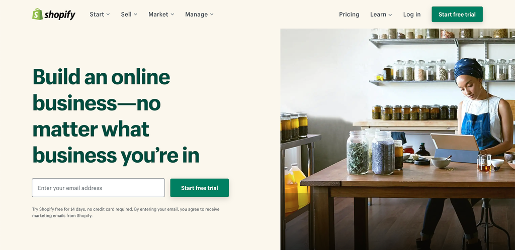 Screenshot from the Shopify website showing its front page.