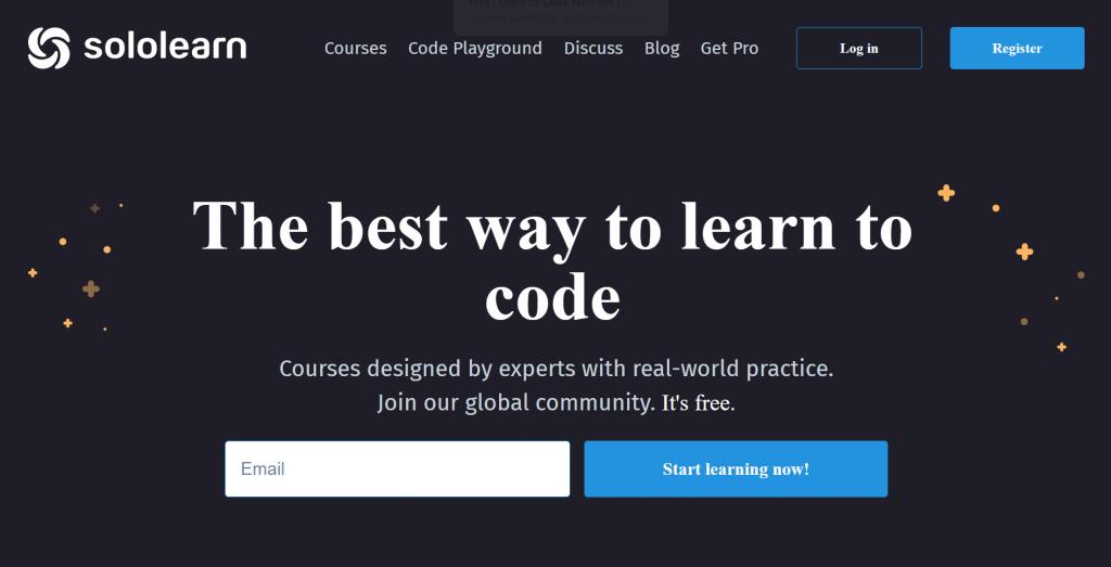 Sololearn homepage.