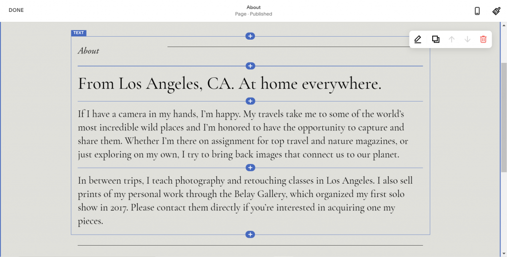 A screenshot showing the Squarespace's WYSIWYG builder.