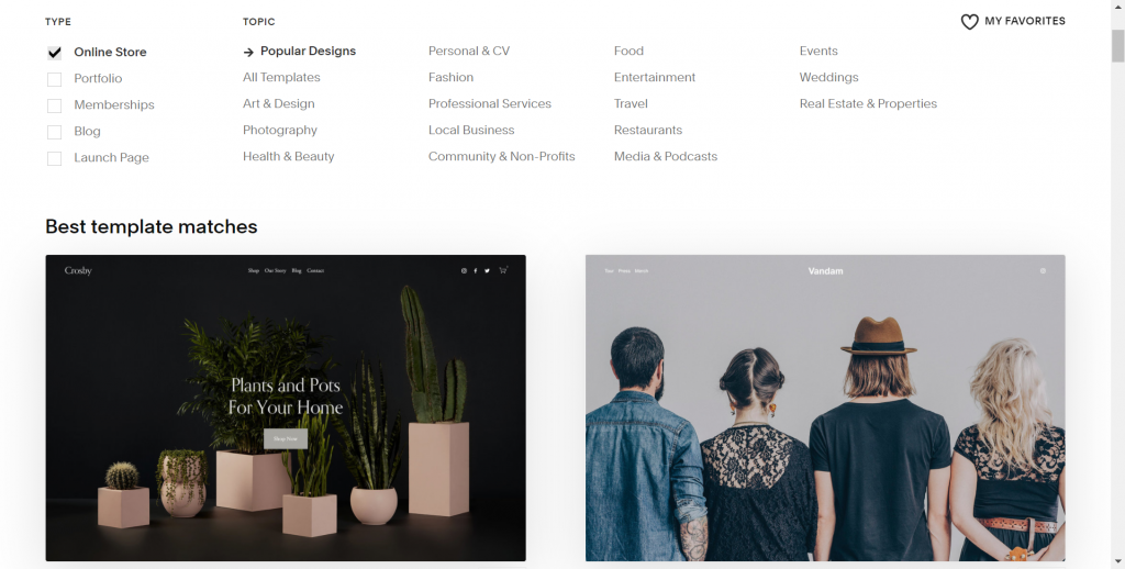 A screenshot showing Squarespace's templates and their multiple categories together with best template matches for you.