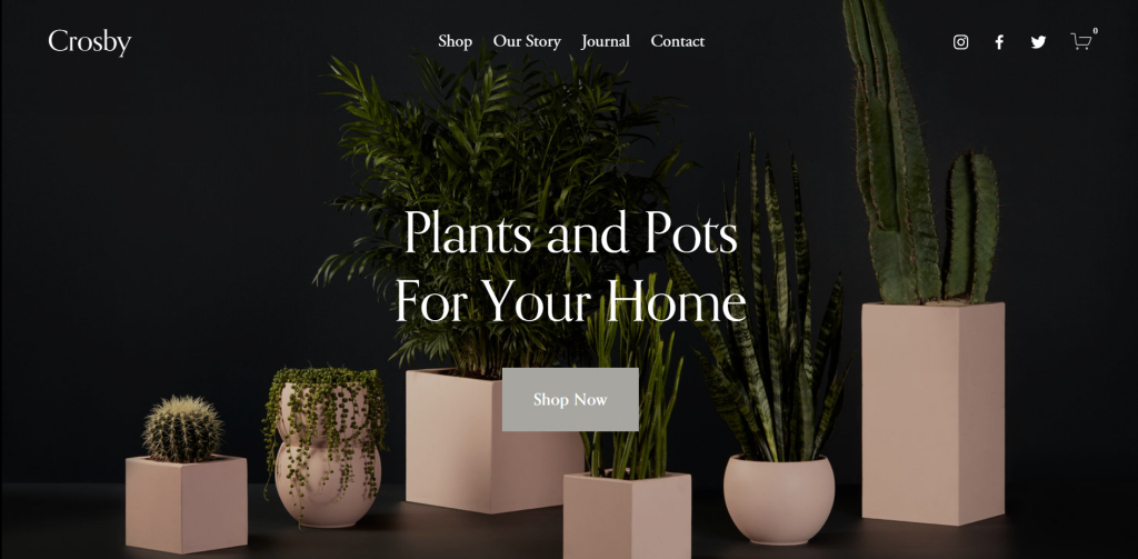 A screenshot showing Squarespace's Crosby template.
