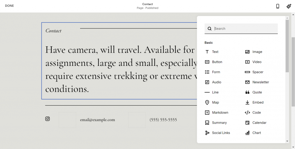 A screenshot illustrating Squarespace's elements library.