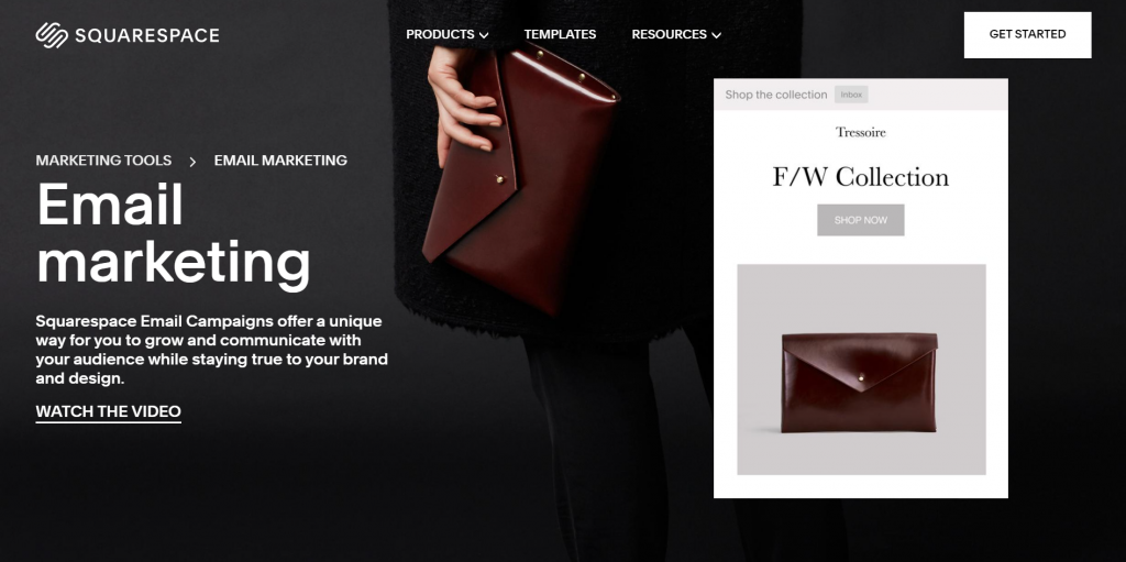 A screenshot showing Squarespace's email marketing feature.