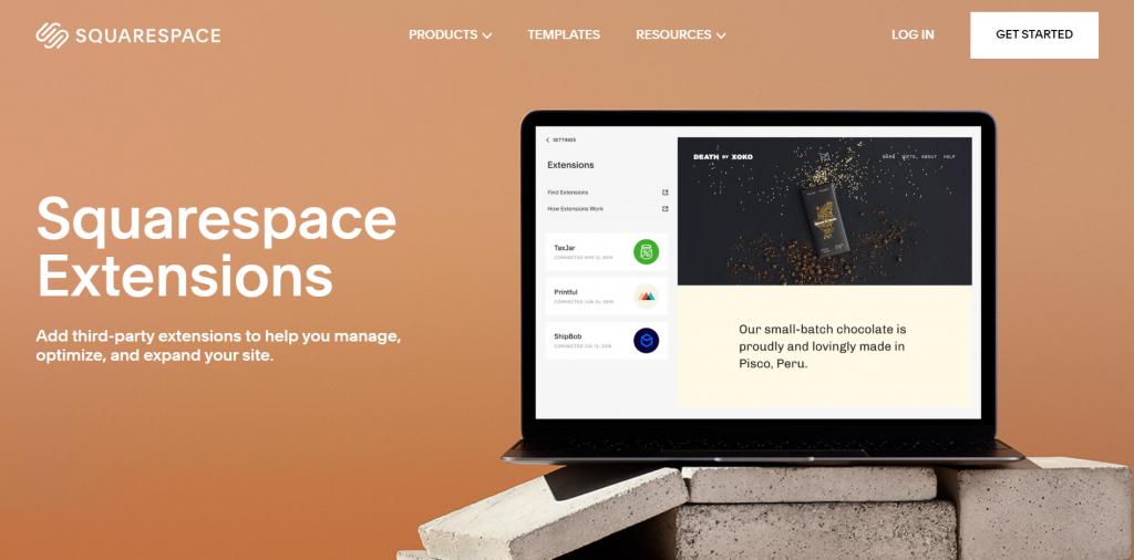 A screenshot showing the Squarespace Extensions website's front page.