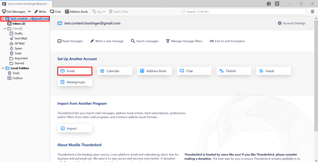 Screenshot showing where to press to add an email account in Thunderbird