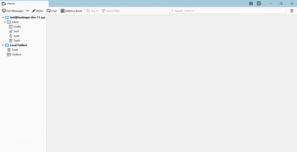 Screenshot showing where to find the newly added email in Thunderbird.