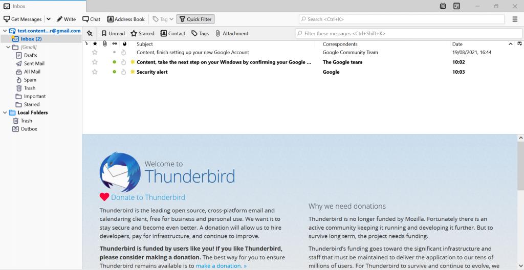 Screenshot showing the Thunderbird's interface.