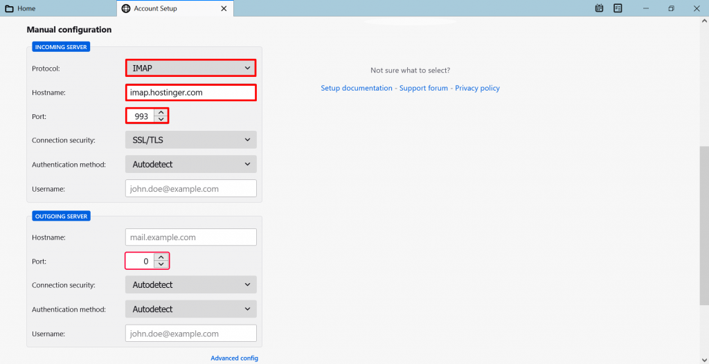 Screenshot from the Thunderbird's account setup showing how to choose IMAP.