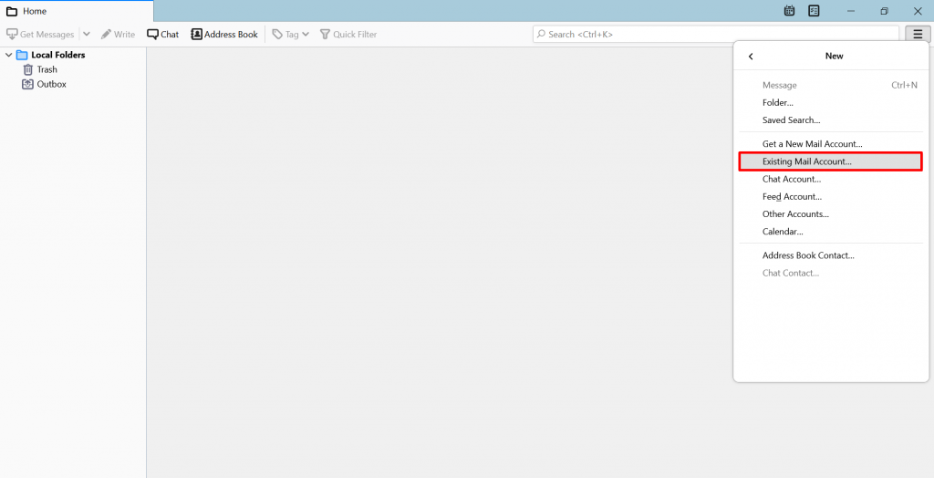 Screenshot from Thunderbird showing where to find the Existing Mail Account option.
