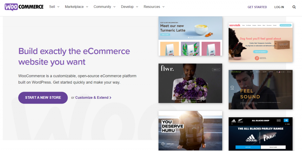 Screenshot from the WooCommerce website showing its front page.