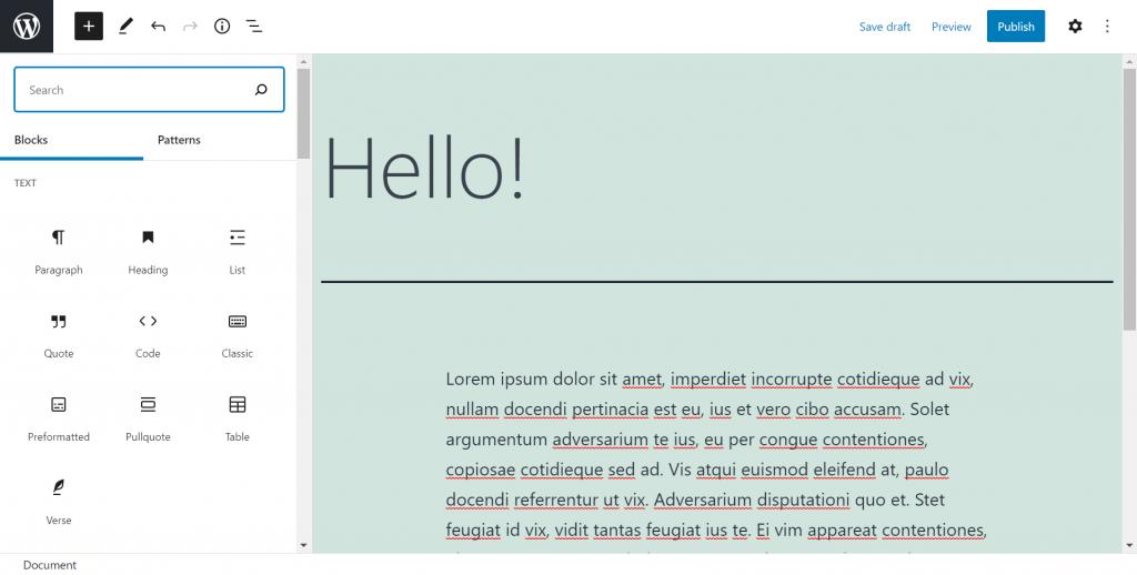 A screenshot showing WordPress content blocks.
