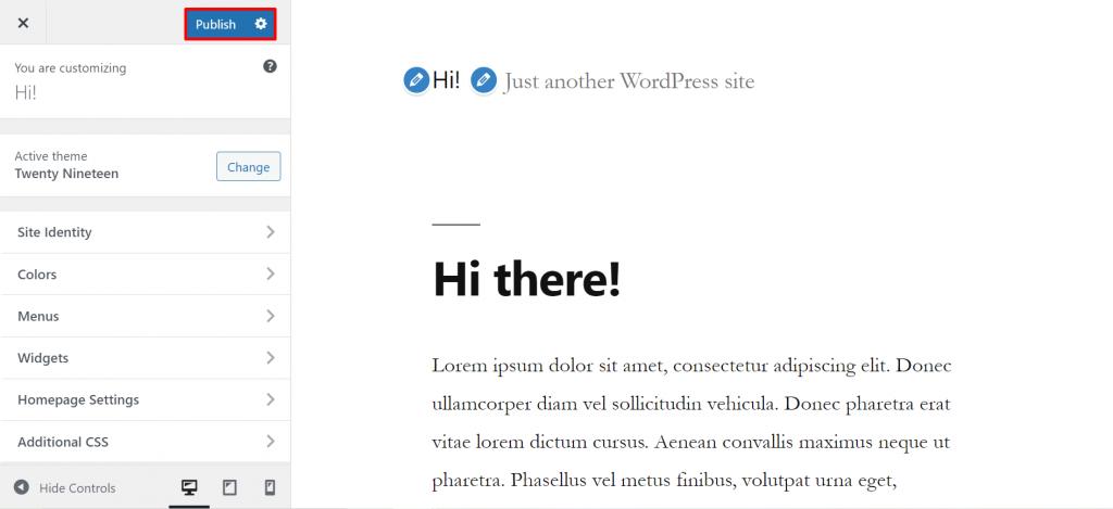 A screenshot showing the menu to customize and modify the WordPress theme.