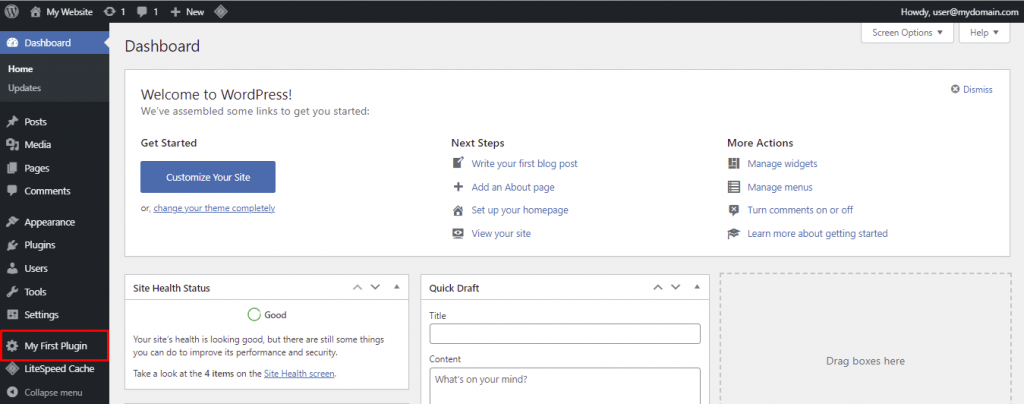 A screenshot from the WordPress dashboard showing your plugin at the bottom of the the navigation menu