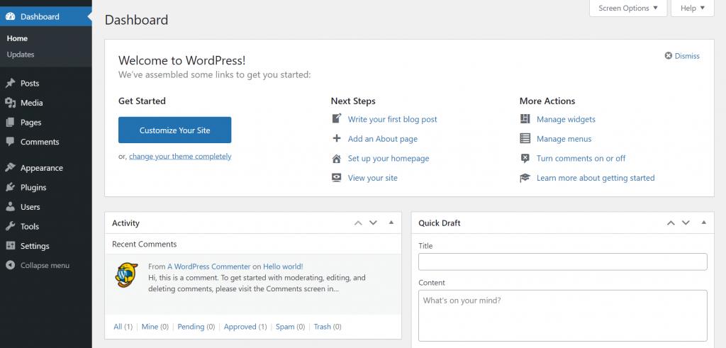 A screenshot showing the WordPress dashboard.