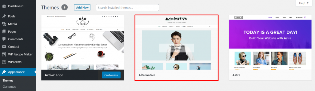 A screenshot from the WordPress dashboard showing where to find the newly added Alternative theme and how it looks.