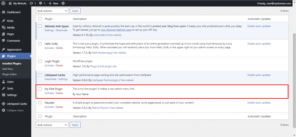 A screenshot from the WordPress dahboard showing where to find your plugin