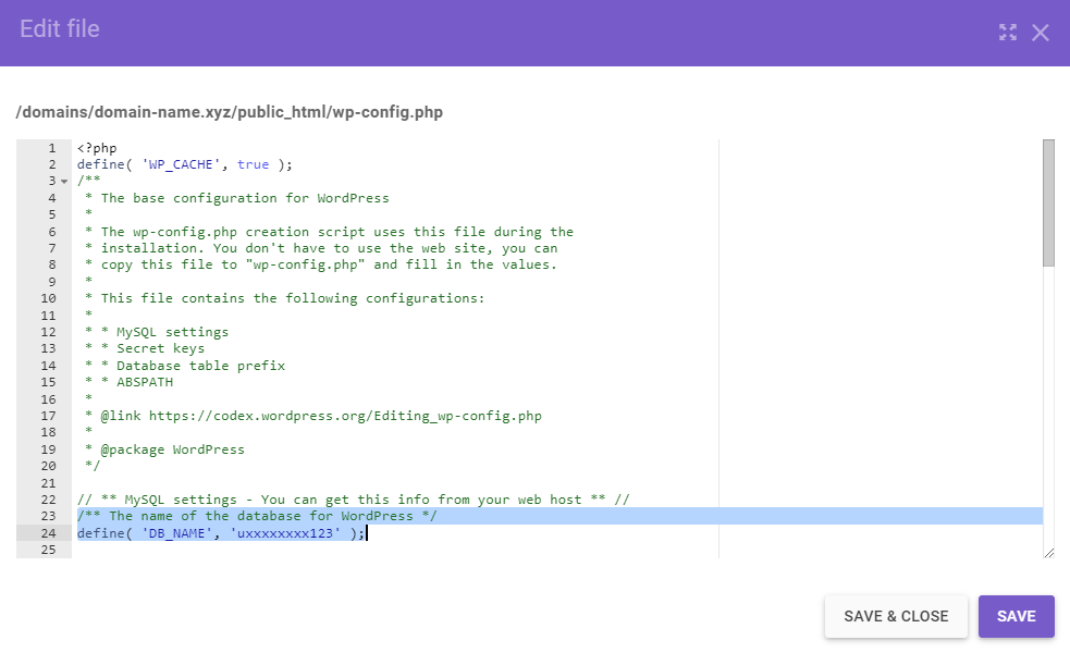 A screenshot from the WordPress Edit file screen showing the lines to save for later.
