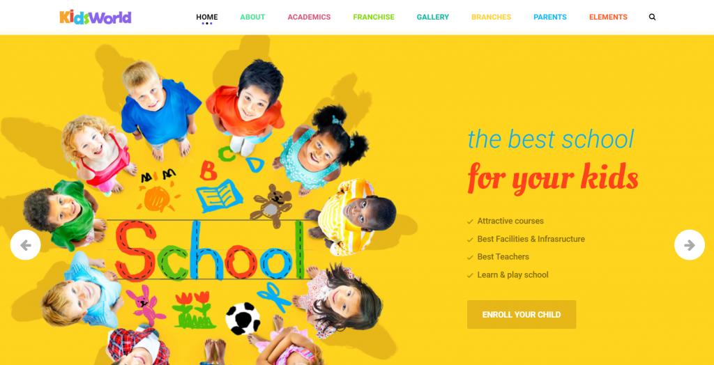 A screenshot showing how the colorful WordPress' kids heaven theme looks on a school website.