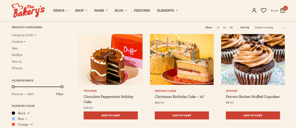 Screenshot showing how the WordPress' PeakShops theme looks on a bakery website