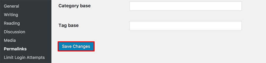 Screenshot from the WordPress dashboard showing where to find permalinks and click on the save changes button.