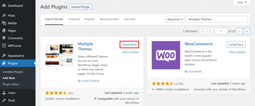 A screenshot from the WordPress dashboard showing the Multiple Themes plugin and where to click to install it.