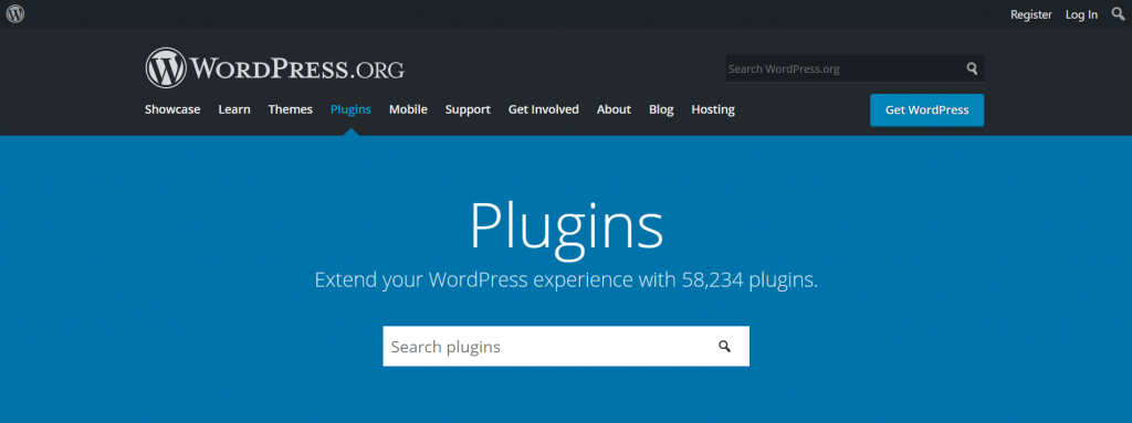 A screenshot showing WordPress official directory and the search bar to search all the available plugins.