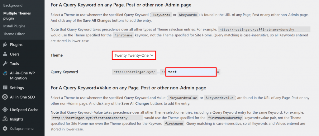 A screenshot from the Multiple Themes plugin's dashboard showing examples of the theme - Twenty Twenty-One, and query keyword - test,