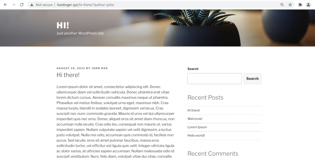 Showing how the WordPress theme looks on the page that has the query keyword.