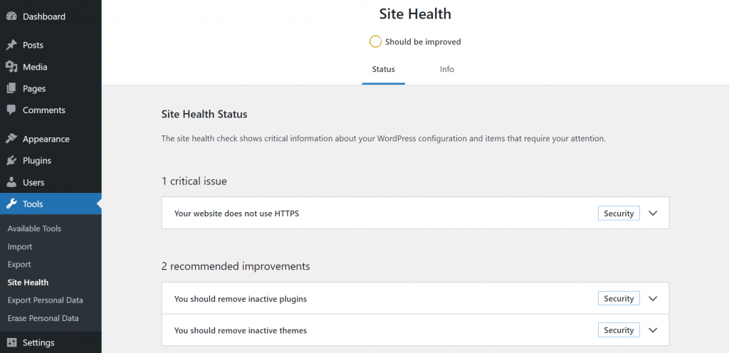 A screenshot showing WordPress site health tool and where to find it on the sidebar menu.