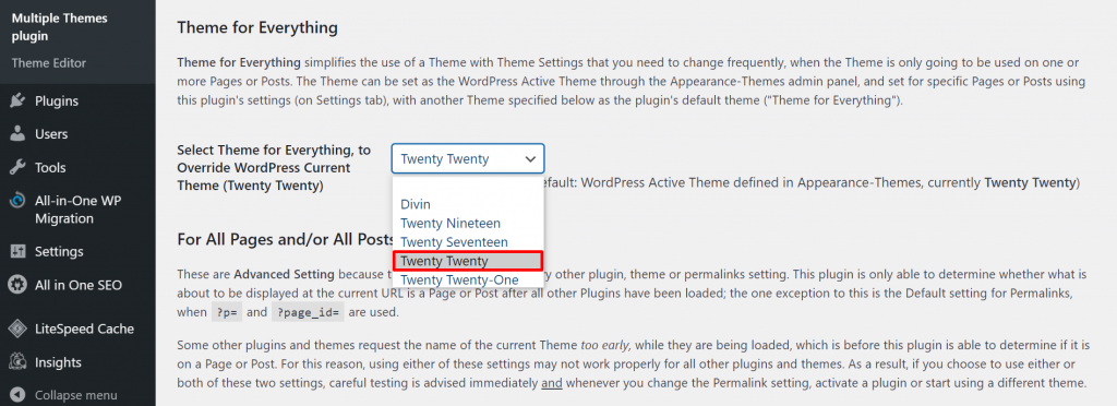 A screenshot from the Multiple Themes plugin's settings showing how to select the theme Twenty Twenty for everything.