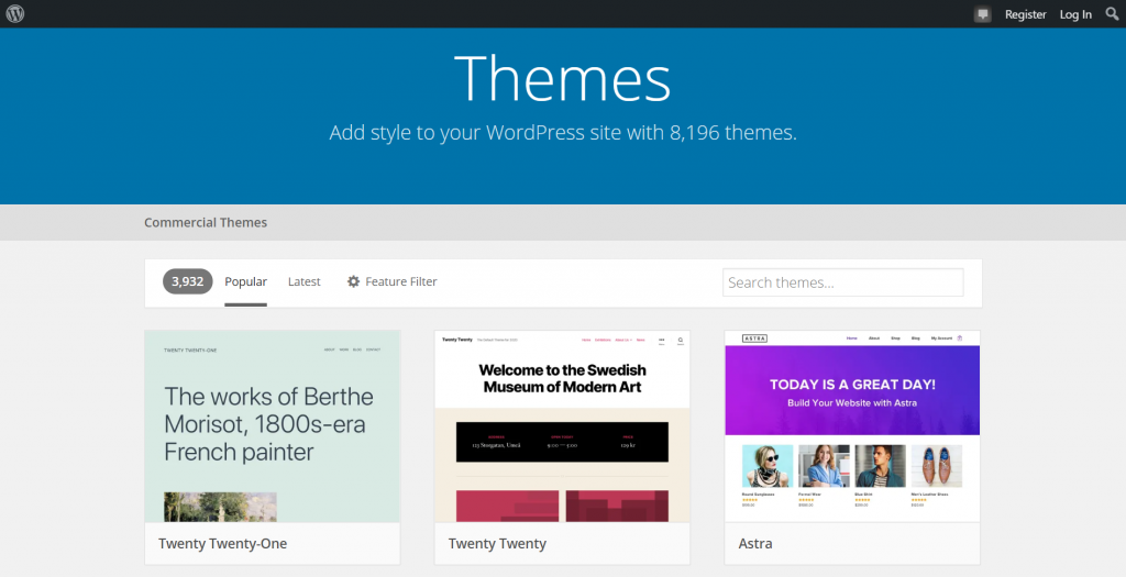 A screenshot showing WordPress official directory and available themes.