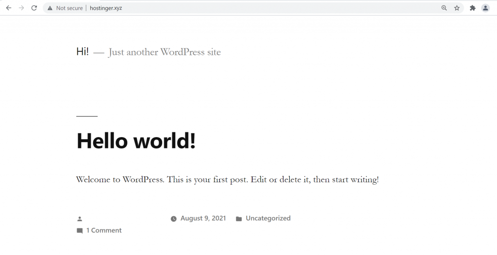 The appearance of a WordPress site's homepage using the Twenty Nineteen theme.