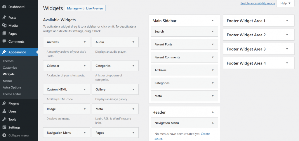 A screenshot showing WordPress widgets and where to find them on the sidebar menu.