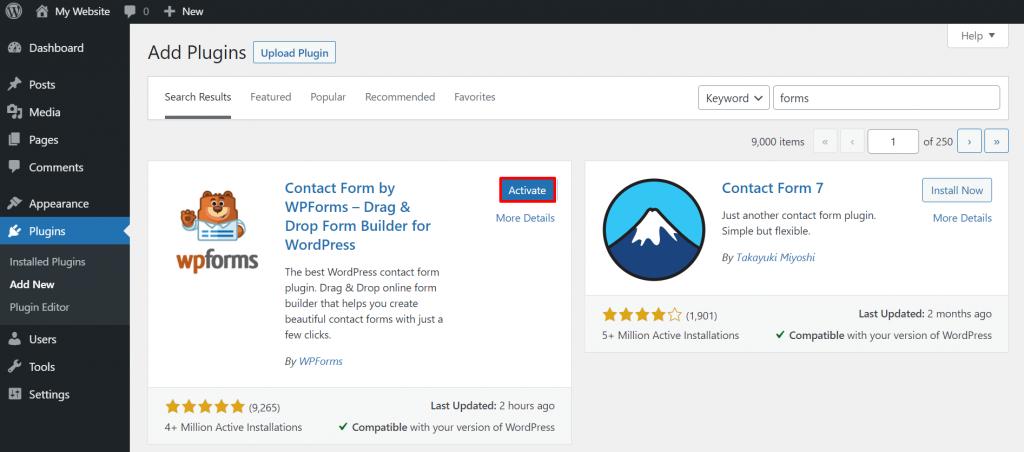 Installing the WPForms plugin on WordPress.