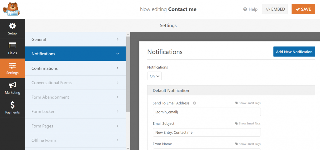 Customizing the notifications WPForms will display when a form is submitted.