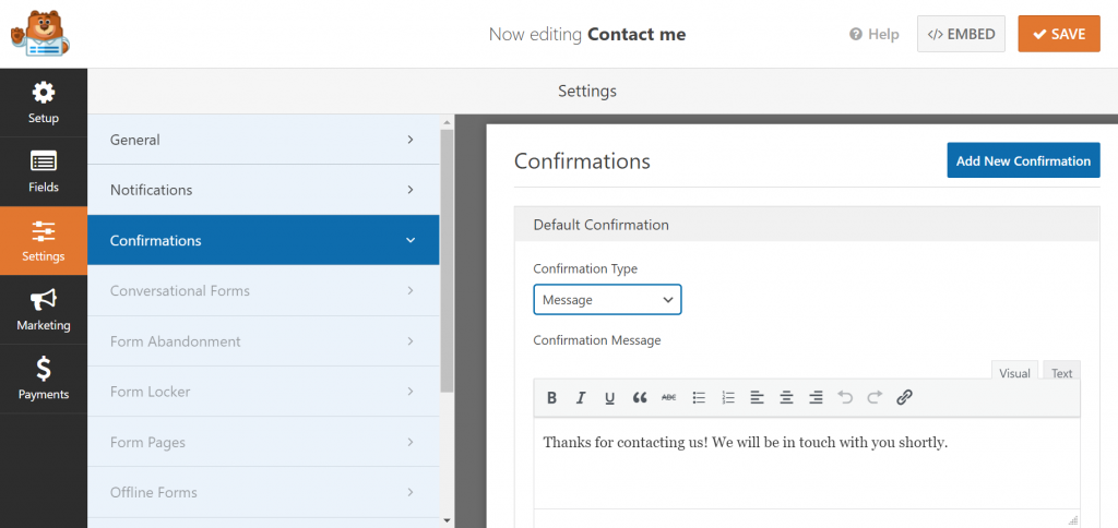 Setting up a confirmation email that will be sent upon submitting a form.
