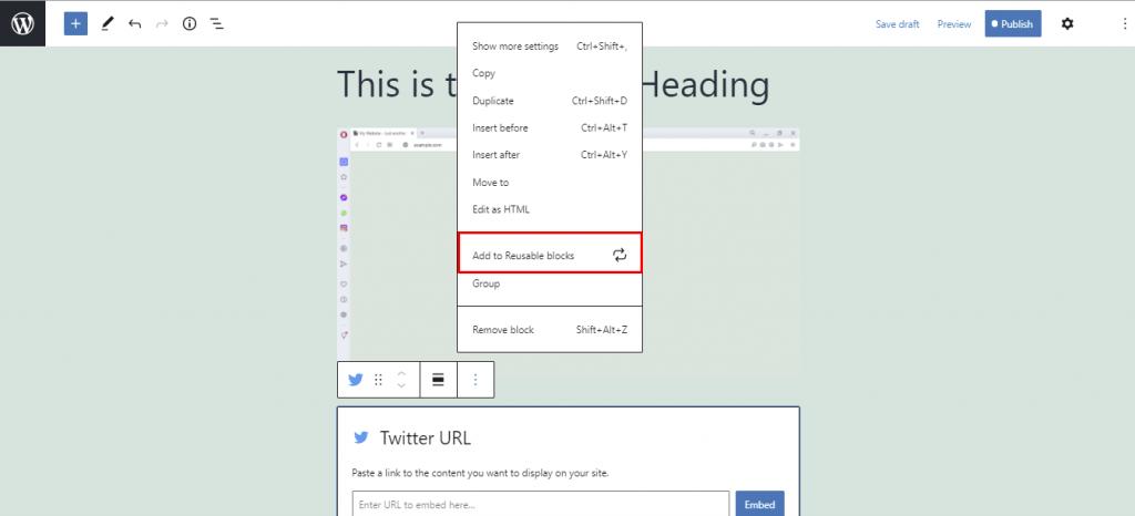 Add to reusable blocks option.