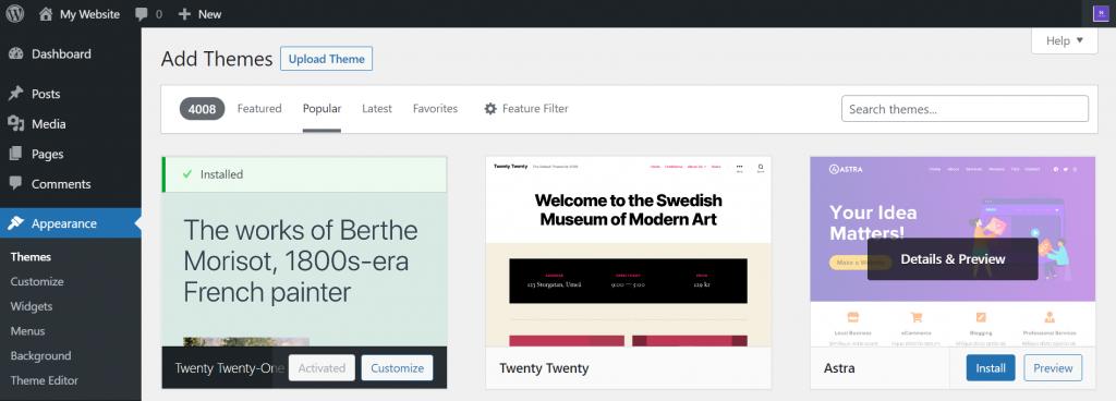 Theme browser on the WordPress dashboard.