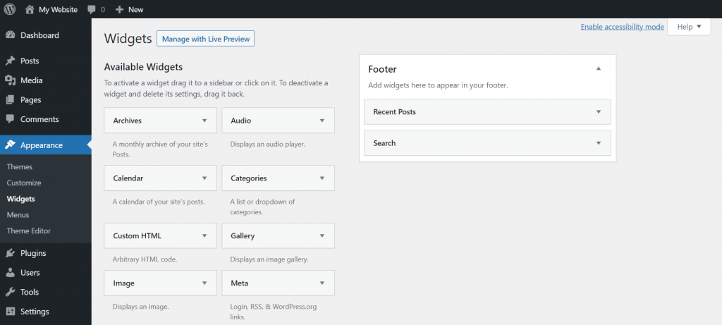 Customizing widgets on WordPress.